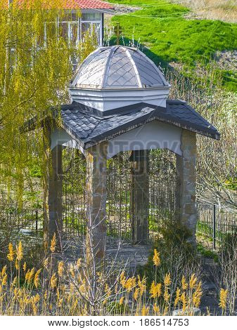 The beautiful antique gazebo in the park