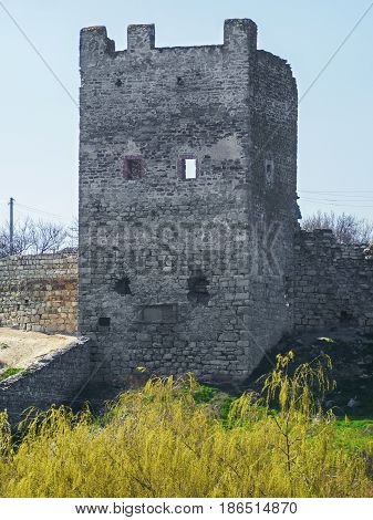 Tower of Genoese fortress in Feodosia Crimea Russia