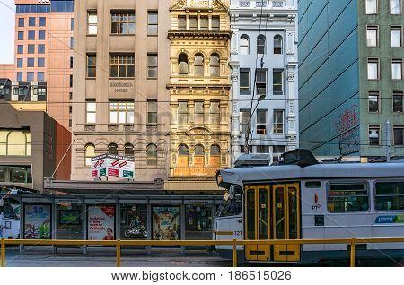 Tram Arriving On Tram Stop On Elizabeth Street In Melbourne Cbd