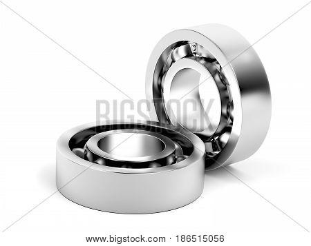 Ball bearings on white background, 3D illustration