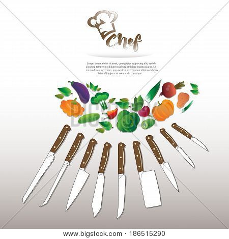 Set of kitchen knives with a set of vegetables