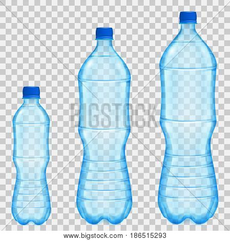 Set of three transparent plastic bottles of various sizes and volumes with mineral water in light blue colors. Transparency only in vector file
