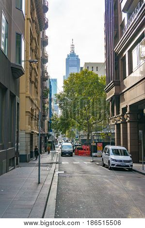 Little Collins Street With View Of Famous Building On Collins Street