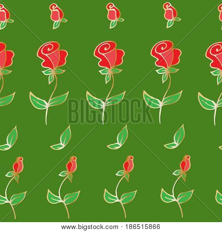 Seamless pattern of decorative roses, hand-drawn, for textiles, postcards, book of flyers, backgrounds. Vector illustration