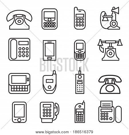 Telephone smart phone fax phone Cell phone telecommunication icon set in thin line style