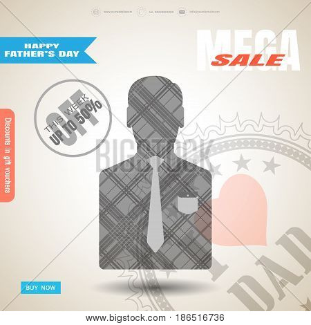 Happy Father's Day mega sale vector poster with stamp man silhouette in jacket with gray line pattern pocket and tie blue buy button on the gradient light brown background with blue and red stripe.