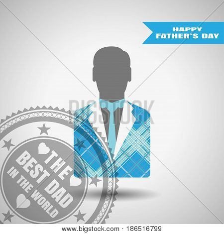 Happy Father's Day vector poster with stamp man silhouette in jacket with blue line pattern and tie on the gradient gray background with blue stripe.