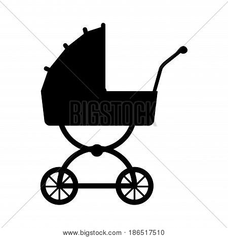 silhouette carriage baby wheel design vector illustration