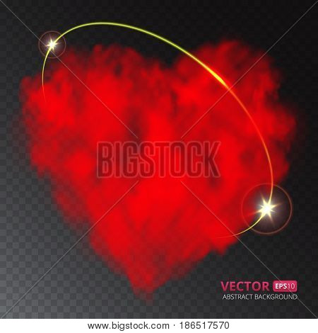 Red heart of fog or smoke with ray of light isolated on transparent background. Vector illustration for your design.