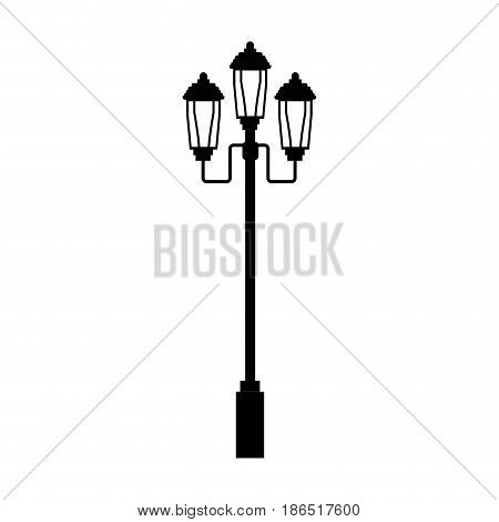 pictogram lamp post light street ornament vector illustration