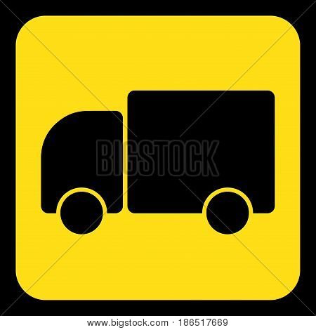 yellow rounded square information road sign with black lorry car icon and frame