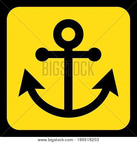 yellow rounded square information road sign with black anchor icon and frame