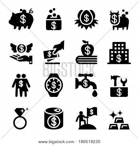 Saving money icon set Vector vector illustration Graphic design