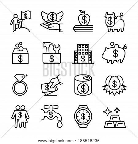 Saving money investment financial Property icon set in thin line style