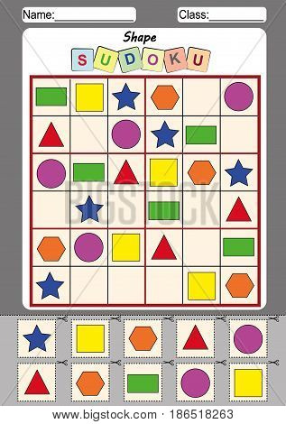 poster of picture sudoku for kids Cut and paste fine motor activity