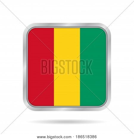 National flag of Guinea. Shiny metallic gray square button with shadow.