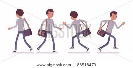 Set of young handsome man, smart casual dressing, skinny jeans, holding messenger bag, walking and running pose, front, rear view, vector flat style cartoon illustration, isolated, white background