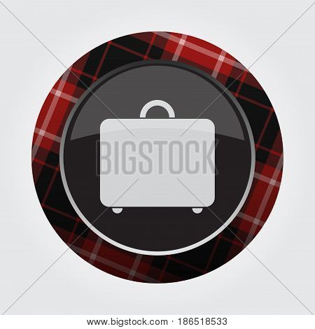 black isolated button with red black and white tartan pattern on the border - light gray suitcase icon in front of a gray background
