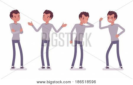Set of young handsome man in casual wear, skinny jeans, standing troubled and puzzled, facepalm, aggressive, negative emotions, vector flat style cartoon illustration, isolated, white background