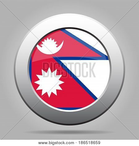 National flag of Nepal. Shiny metal gray round button with shadow.