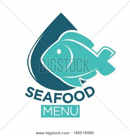 Seafood restaurant menu flat minimalistic emblem. Cartoon blue fish that almost covers shiny navy drop behind isolated vector illustration of logotype with sign underneath on white background.