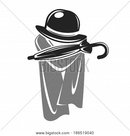 Gentleman black hat closed umbrella and grey cape logotype isolated on white. Vector illustration in flat design of attributes for male people. Clothes and things in brutal style template