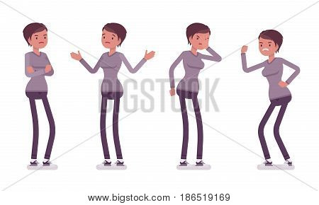 Set of young woman in casual wear, skinny jeans, standing troubled and puzzled, facepalm, aggressive, negative emotions, vector flat style cartoon illustration, isolated, white background