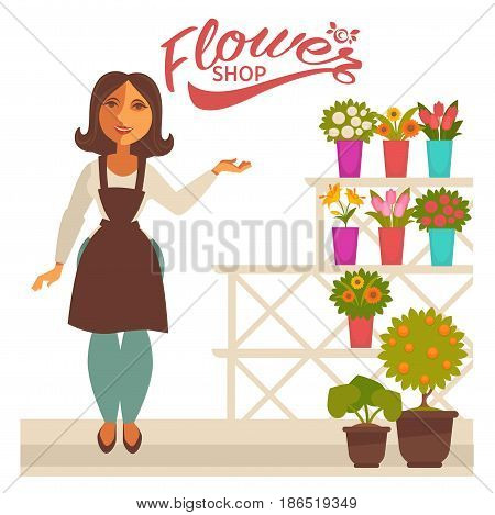 Flower shop banner with woman florist and fresh flowers in pots vector collection isolated on white. Colorful poster in flat design with plants on shop window and seller in apron pointing on blossoms