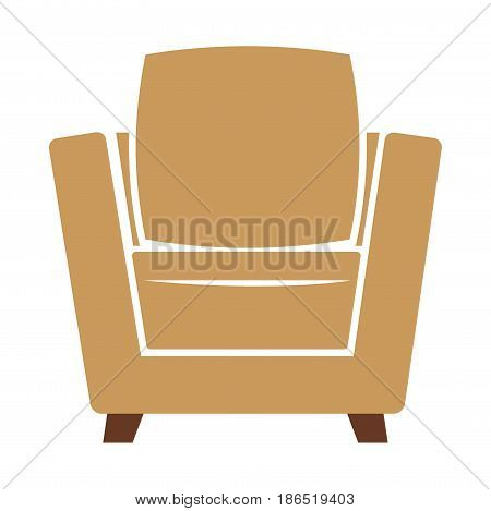 Armchair icon vector illustration isolated on white background. Cosy soft chair emblem in flat design cartoon style. Piece of furniture, comfortable seat in beige and brown colors, object for rest