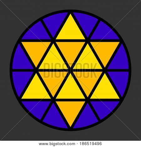 Hexagram leadlight impression, generated by a black triangle pattern in a circle with yellow and blue color. Rosette window, also Catherine or wheel window. Illustration on gray background. Vector.