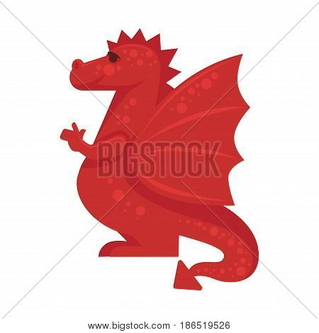 Red dragon mythical monster giant reptile vector illustration isolated on white. Fairy tale character, toy for children play, sticker of cartoon fire-breathing animal, symbol of chaos or evil