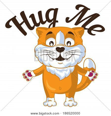 Cartoon vector ginger cat  put his hands to hug. Vector illustration.