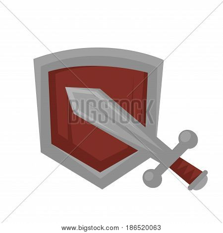 Metal sword in grey color against wooden shield with steel frame isolated on white. Vector illustration in flat design of knight attribute for defence and fights. Knightly equipments template