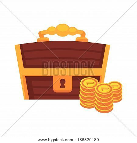 Dower wooden chest with lock and handle and golden coins vector illustration isolated on white. Box for storage treasures, cartoon riches of pirates in flat style design, piles of gold for fairy tales