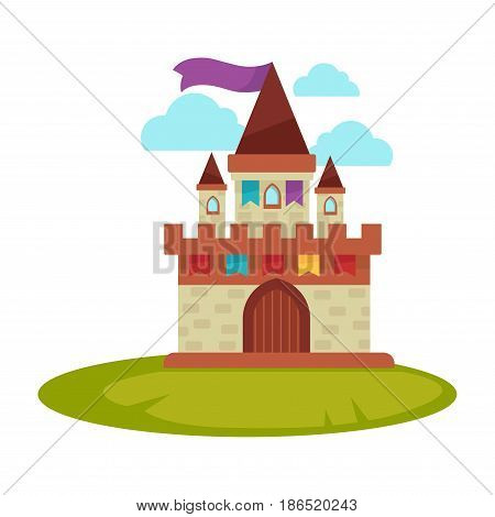 Cartoon medieval castle with high towers with flag on top isolated on white. Ancient brick building with big gate on green grass vector illustration in flat style. Old dwelling for royal nobility icon