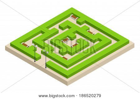 Isometric Green plant maze. City, park and outdoor plants. Rectangular park is a labyrinth made of bushes with benches for rest. Vector illustration.