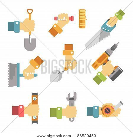 Hands holding tools colorful vector poster on white. Vector collection in flat design of male arms keeping instruments for outdoor and indoor building or garden reconditioning and repairing.