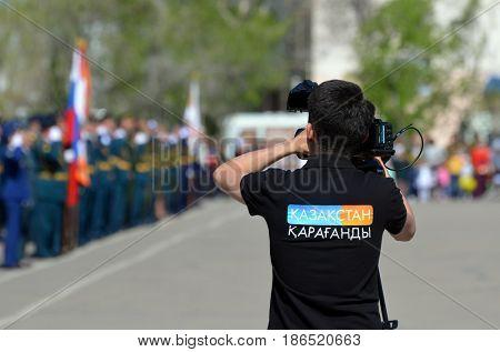 TV Karaganda chanel operator.Kazakhstan army parade.V-day celebration.Sary Shagan.Former Soviet  anti-ballistic missile testing range.Kazakhstan.May 9, 2017.Priozersk.Kazakhstan