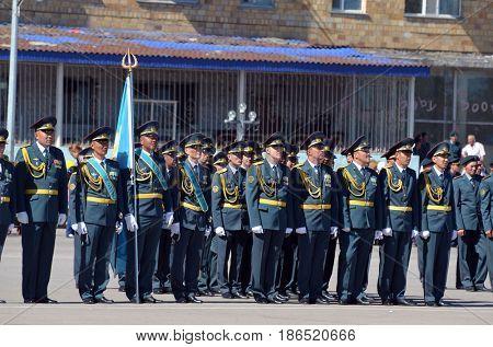 Kazakhstan army parade.V-day celebration.Sary Shagan.Former Soviet  anti-ballistic missile testing range.Kazakhstan.May 9, 2017.Priozersk.Kazakhstan