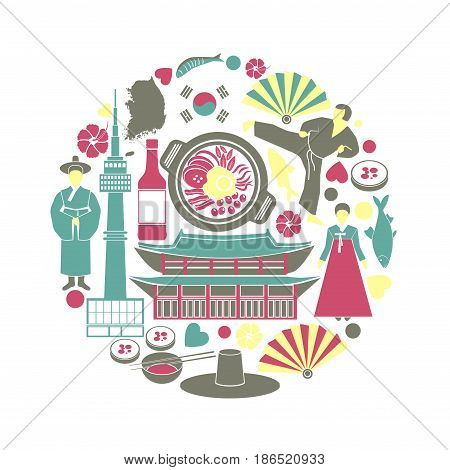Korean customs and landmarks in one circle. Traditional clothing, authentic buildings, seafood, national flag, country borders and famous kind of sport round vector illustration on white background.