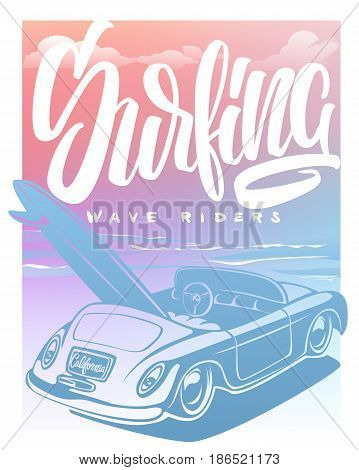 Summer Surf Print with car Palm Trees and Lettering. Vector Illustartion.