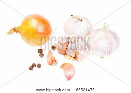 Composition With Onion, Garlic And Spices Isolated On White Background.