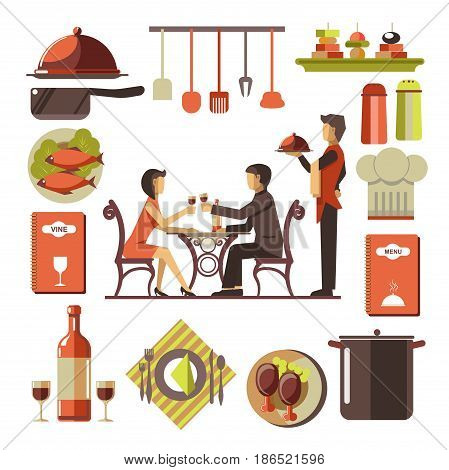 Dating couple in restaurant sit at table and drink wine, standing near waiter with dish and colorful collection of kitchen attributes isolated around on white. Eating out template vector illustration