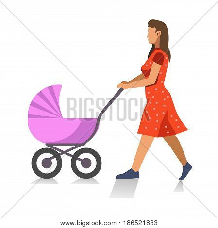 Walking mother with baby carriage isolated on white. Young female person in red summer dress strolling with baby in violet pram. Motherhood concept vector colorful illustration in flat design.