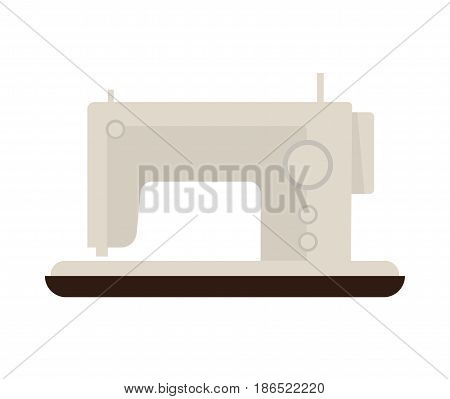 Sewing machine isolated on white vector illustration in flat design. Electric equipment in light color for seamstresses to create clothes and other decorative things. Fashion industry template