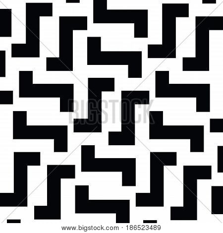 Irregular Maze Lines. Zigzag stripes Pattern. Vector Black and White background
