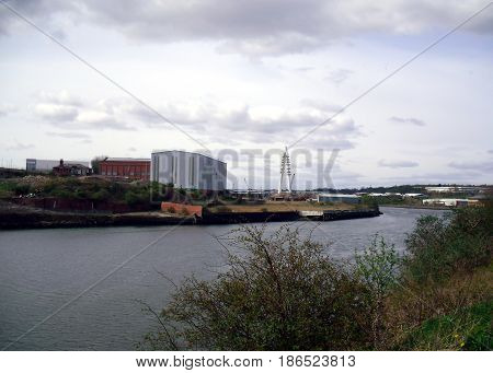 Sunderland Skyline Looking West Along the River Wear From Southwick with the New Wear Crossing Under Construction