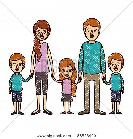 color crayon stripe cartoon family with young parents and little kids taken hands vector illustration