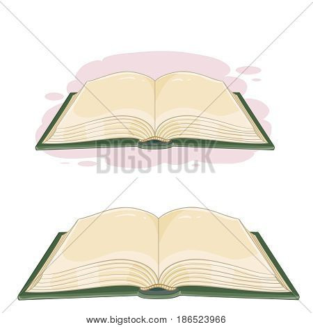 Vector illustration of an open book in cartoon style. Emblem of knowledge, education, school