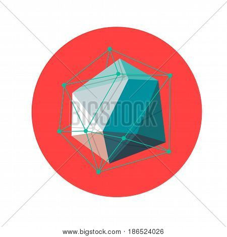 3d low poly Abstract polygonal geometric shape on red . Vector illustration.